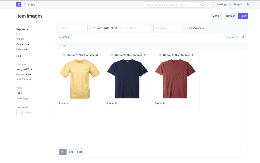 manufacturing erp item variants screenshot