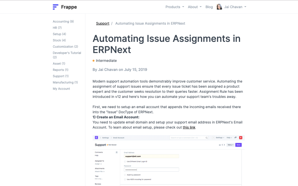 Open-source help desk with articles example.