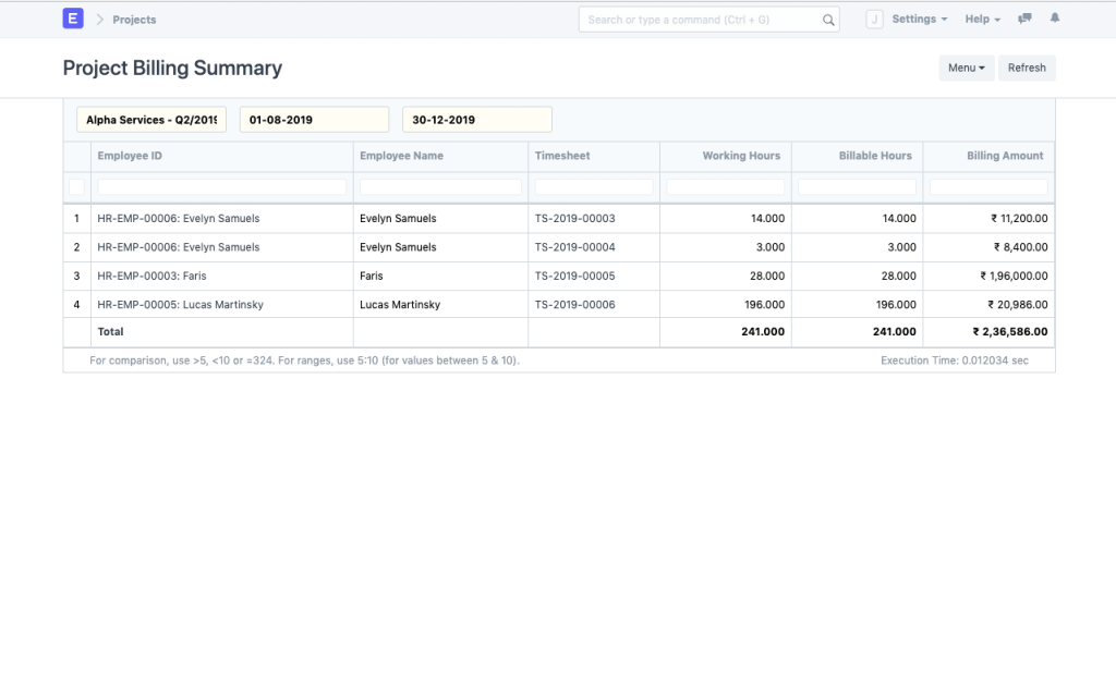 Project Billing Summary from ERPNext