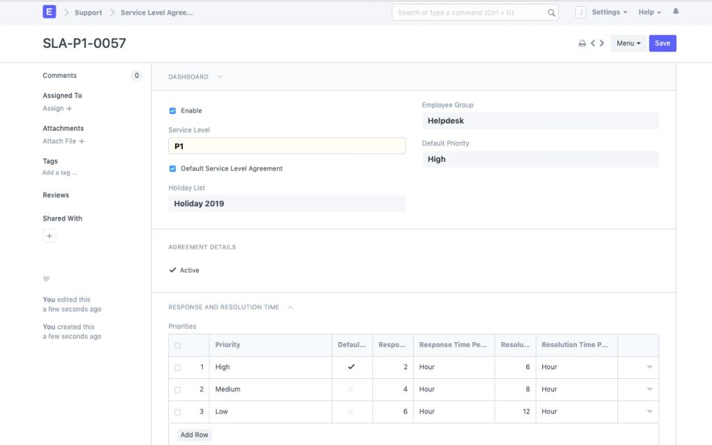 Open-source help desk with SLA example.