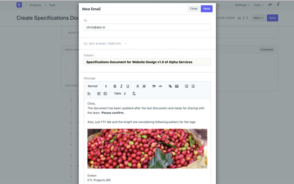 ERPNext sales feature; custom emails.