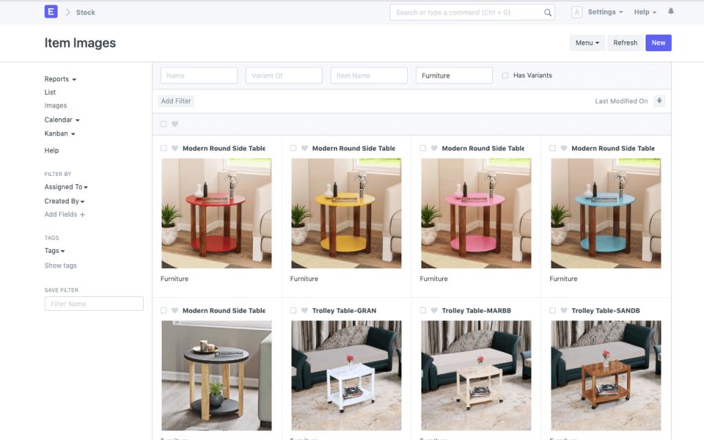ERPNext sales feature; item variants.