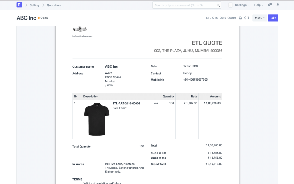 Example of ERPNext sales feature, custom invoices.